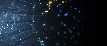 Concept de réseau neurologique Cellules reliées avec des liens Haut technol Photos stock