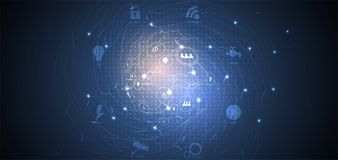 Concept de réseau neurologique Cellules reliées avec des liens Haut technol Images libres de droits