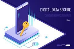 concept de réseau de sécurité l'accès personnel et protègent le téléphone Les données numériques fixent la bannière illustration de vecteur