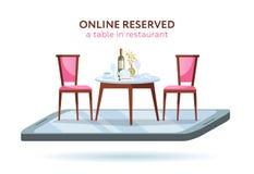 Concept de réservation en ligne de restaurant du vecteur 3d Smartphone avec la table servie et 2 chaises élégantes Bouteille de v illustration stock
