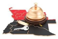 Concept de réservation de l'Angola Drapeau angolais avec la clé et le receptio d'hôtel Illustration Stock