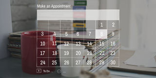 Concept de réunion de date-butoir de rendez-vous d'ordre du jour de calendrier photographie stock