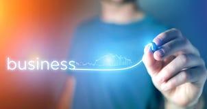 Concept de réussite commerciale avec la flèche montant sur une technologie Photo libre de droits