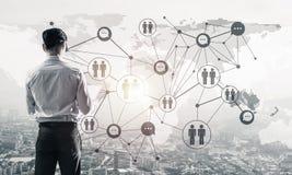 Concept de réussite commerciale et de contrôle avec l'agai sûr de patron Image stock