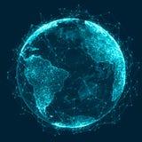 Concept de r?seau global Point de carte du monde La terre de plan?te de r?seau global rendu 3d illustration de vecteur