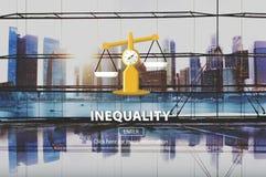 Concept de racisme de déséquilibre de diversité de différence d'inégalité image stock