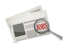 Concept de recherche d'emploi sur un journal illustration stock