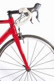 Concept de recyclage de sport Vélo professionnel Front Wheel de route et plan rapproché de guidons Photographie stock libre de droits