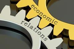 Concept de relations économiques sur les roues dentées, rendu 3D Photos stock