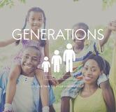 Concept de relations d'unité de famille de générations Image stock