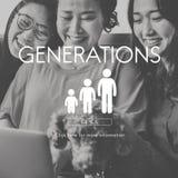Concept de relations d'unité de famille de générations Images stock