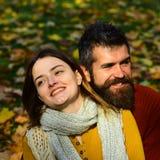 Concept de relations et de temps de chute Couples dans l'amour avec des écharpes Photographie stock