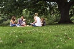 Concept de relaxation d'unité de pique-nique de générations de famille Photo stock