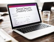 Concept de rente d'invalidité de sécurité sociale photographie stock