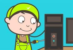 Concept de Repairing Computer Vector d'électricien de bande dessinée Photo libre de droits