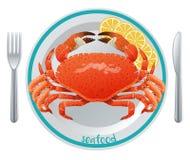 Concept de repas de fruits de mer de bande dessinée illustration libre de droits