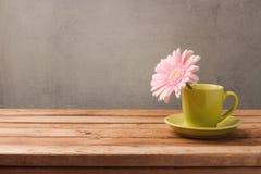 Concept de ressort avec la fleur dans la tasse de café Photos stock