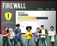 Concept de retrait de Malware de pare-feu de protection de fichier de données Photographie stock