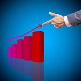 Concept de revenu humain de bénéfice de prise de main avec le graphique sur le backgro bleu photo stock