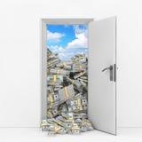 Concept de richesse Porte d'ouverture avec le tas des billets d'un dollar rende 3D Photo stock