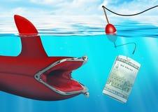 Concept de risque commercial, crochet d'amorce d'argent la bourse à l'océan Image libre de droits