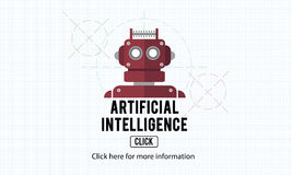 Concept de robot de machine d'automation d'intelligence artificielle Images libres de droits