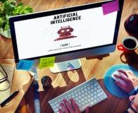 Concept de robot de machine d'automation d'intelligence artificielle Photos stock