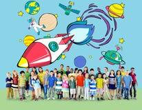 Concept de Rocket Launch Space Outerspace Planets Photos stock
