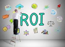 Concept de ROI dessiné par un homme sur une échelle illustration stock