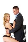 Concept de romance de bureau Hommes d'affaires dans l'amour Photographie stock