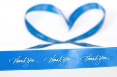 Ruban bleu de gratitude et d'amour Images stock