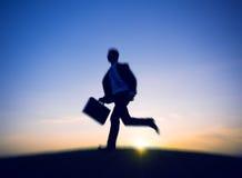 Concept de Running Rush Hour d'homme d'affaires image stock