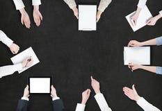 Concept de séance de réflexion/vue aérienne des gens d'affaires photos stock