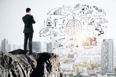 Concept de séance de réflexion et de finances illustration de vecteur