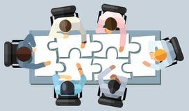Concept de séance de réflexion de stratégie de réunion d'affaires Dirigez l'illustration dans une vue aérienne avec des personnes illustration de vecteur