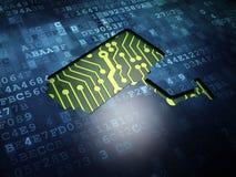 Concept de sécurité : Appareil-photo de télévision en circuit fermé sur l'écran numérique Photo libre de droits