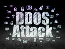 Concept de sécurité : Attaque de DDOS dans la chambre noire grunge Photographie stock libre de droits