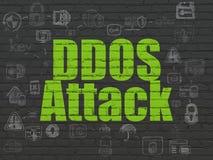 Concept de sécurité : Attaque de DDOS sur le fond de mur Image stock