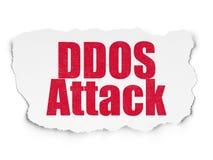 Concept de sécurité : Attaque de DDOS sur le fond de papier déchiré Photo stock