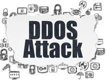 Concept de sécurité : Attaque de DDOS sur le fond de papier déchiré Photo libre de droits