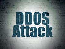 Concept de sécurité : Attaque de DDOS sur le fond de papier de données numériques Photo libre de droits