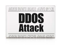 Concept de sécurité : attaque du titre de journal DDOS Images libres de droits