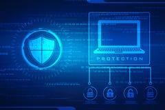 Concept de sécurité : bouclier sur l'écran numérique, fond de concept de sécurité de cyber photos libres de droits