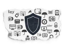 Concept de sécurité : Bouclier sur le fond de papier déchiré Photographie stock libre de droits