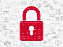Concept de sécurité : Cadenas fermé sur le mur Images stock
