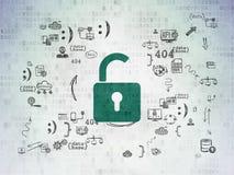 Concept de sécurité : Cadenas ouvert sur numérique Photographie stock libre de droits