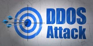 Concept de sécurité : cible et attaque de DDOS sur le fond de mur illustration de vecteur