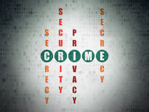 Concept de sécurité : crime de mot en résolvant des mots croisé Photographie stock libre de droits