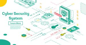 Concept de sécurité de Cyber d'ensemble Illustration isométrique d'isolement sur le blanc illustration stock