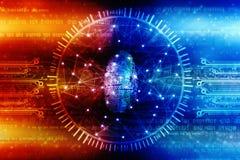 Concept de sécurité de Cyber, concept de la sécurité d'Internet, empreinte digitale sur le fond numérique Photographie stock libre de droits